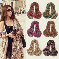 Wholesale Fashion Vintage Women Ladies Pashmina Totem Flowers Scarf Shawl Wrap