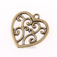 Wholesale 90pcs Antique Bronze Charms Vintage Heart Pendants Alloy Dangle Beads Fit Diy Beads Necklace