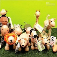 Wholesale Maple Wood Handmade Moveable Animals Toy Farm Animal Wooden Zoo Baby Educational Toys per set