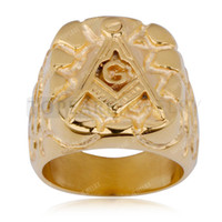 Wholesale Stunning Masonic Ring Rugged Nugget Gold Plated Stainless Steel MER05