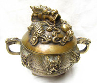 Censer brass statue - Chinese Folk Collection Copper Brass dragon Statue Incense Burner Censer