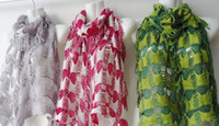 Wholesale Pierced shawl two color knitting scarves narrow Openwork scarf