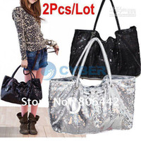 Wholesale Promotion Womens Fashion PU Leather Party Sequin Spangle Decorative Tote Bag Shopping Sho