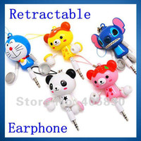 Wholesale Cartoon Retractable In Ear Earphone Cute Stereo headset for MP3 MP4 Mobile Phone