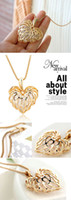 Wholesale 10 Gold Hollow Love Heart Shape Crystal Gemstone Pendant Long Necklace Chain
