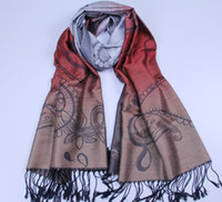 Wholesale Pashmina feeling Shawl cotton gradient color scarf wrap