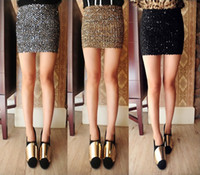 Wholesale MONDE Sexy Bandage Glitter Sequin BodyCon Panel Party Mini Skirt Sexy shiny slim bud skirt Col