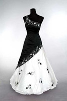 Wholesale New Arrival One Shoulder Embroidery Bridal Gown Satin Sexy A line Black amp White Wedding Dresses