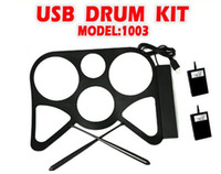 Wholesale 2013 Hot High quality USB MIDI DRUM KIT MD1003 Musical instrument Portable MIDI Drum USB Drums