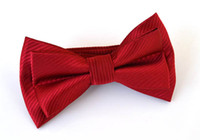 red bow tie - Mens Bowtie Bow Ties Pre tied Adjustable Solid Red Microfiber Silk Bow Tie Fashion Accessories MOQ