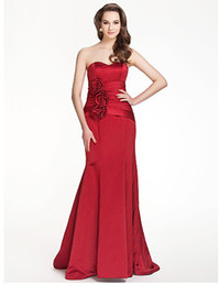 Wholesale Trumpet Mermaid Sweetheart Floor length Satin spot Bridesmaid Dress With Flower s