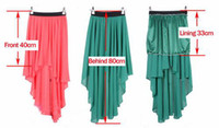 Wholesale New COLORS Sexy Asym Hem Chiffon Skirt Ladies Long Maxi Dress Elastic Waist