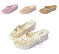 Women Chunky Heel PVC Cutout breathable summer covering slippers wedges female platform beach plastic slippers PVC sandals