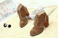Wholesale 2013 Winter Autumn Real Cattle Nubuck Unique Gilt Edged Thick Middle Heel Ankle Boots