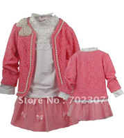 Wholesale soft cotton fabric lovely girl beautiful set with pretty bows coat full t shirt A line skirt ww
