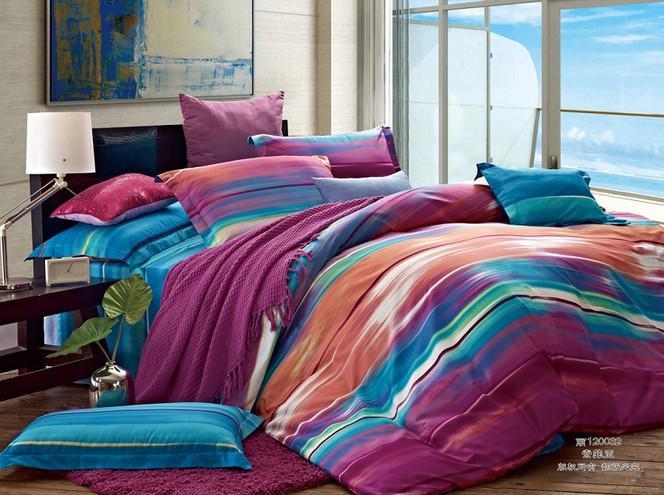 Lattice stripes red purple orange white cotton queen size - Orange and purple bedding ...