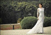 Wholesale 2013 long sleeves beadings handmade flower eli saab bateau chapel train A line wedding dresses