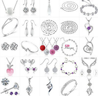 Wholesale Hot Sale Sterling Silver Necklace Ring Earring Bracelet Bangle Wedding Jewelry Set Mix Order