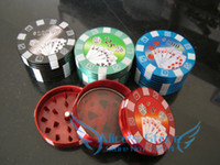 52*30mm big hand poker - Hotsale Fashion aluminum big poker chip layer Tobacco Grinder hand Grinder Machine Gift Promotion GR070