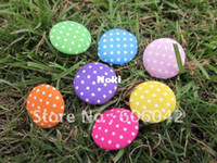 Wholesale Set of handmade Cotton Fabric Covered Buttons polk dot buttons mix colors