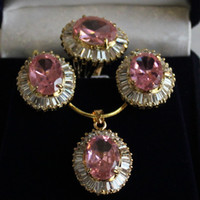 Wholesale Charming Set K GP Jewelry Pink Zircon Pendant Earring Ring Chain