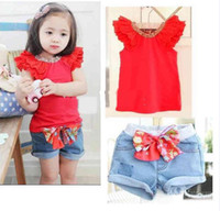 Wholesale Freeshipping girls suit kids t shirt skirt clothes set children summer wear fashion sweet garment