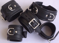 Wholesale Leather Bondage Neck Collar Ring Wrist amp Ankle Restraints Handcuff Anklecuff