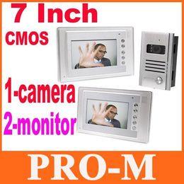 7 Inch Video Door Phone Doorbell Intercom Kit 1-camera 2-monitor Night Vision Nightvision EMS Free