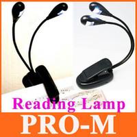 Bon Marché À double lampe de lecture-Mode Lampe LED de Lecture de Clip sur 2 Double Bras 2 LED Flexible pour pupitre Livre de la Lumière à la Lumière de Lecture
