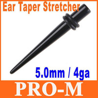 Wholesale 50pcs Single Black Acrylic Ear Expander Taper Plug Stretcher g mm H8379 Shipping Dropshipping