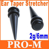Wholesale 25pair Pair Black Magnetic Fake Cheater Ear Expander Ear Taper Stretchers g mm Dropshipping