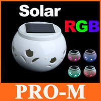 Wholesale Best Gift Colors RGB Single Solar LED Porcelain Light Jar with Flower Cutouts Free Dropshipping