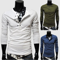 t-shirt - new men long sleeved T shirt double breasted solid color T shirt fashion men s T shirt