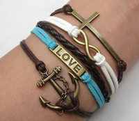 Wholesale 15 off infinity love bracelet amp cross infinity imitation leather bracelet antique bronze bracelet