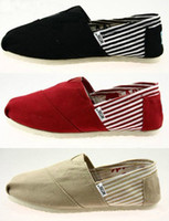 Men and women tom casual canvas shoes flat pattern stripes l...
