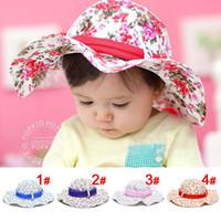 Girl Summer Visor Fashion Sun Hat Children's Summer Bucket Cap With Bowknot Ribbon Baby Sunbonnet Girls Flower Hats
