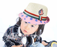 cowboy hats kids - Child Grass Braid Caps Hats Fashion Cowboy Hat Kids Cute Polka Dot Lace Straw Hat Childrens Top Hat