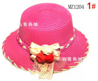 Girl Summer Visor Children Caps Kids Sun Hat With Flower Straw Hat Fashion Wide Brim Hats Girls Bowknot Lace Sunbonnet