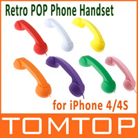 Wholesale 9 Colors mm Audio Jack Volume Control Retro POP Phone Handset for iPhone S PA1303 P GR