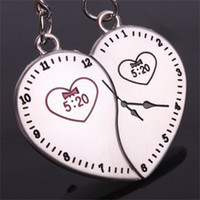 Lover Keychains Promotion Men New Alloy Clock Heart Keychains For Lovers Lover Couple Key Chains Novelty Rings Valentine Gift