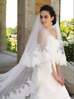 Wholesale white Ivory Long Veil With Beads Appliques Edge Cheap veils long length wedding veil YH