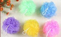 bath mesh scrubber - 10CM Bath Balls Mesh Pouf Sponge Bathing Spa Shower Scrubber Ball Colorful Bath Brushes