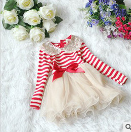 Wholesale 2013 Spring Baby Girls Sequins Lapel Stripe Long Sleeve Cake Dress Children Tulle Dresses