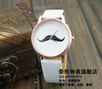 lovers' asos red - new fashion ASOS Women Casual Moustache Face Ladies Leather Rose gold Watch