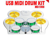 Wholesale Hot MD1008 Portable USB MIDI DRUM KIT Electronic Drum Hand Drum drum set opc drum brake drum cable