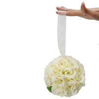 Wholesale Rose Flower Ball Wedding Flower Decoration Ivory Cream Satin Ball Flower Ship From USA J9010WH