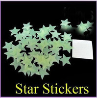 Wholesale 3 cm Fluorescent Glow Star in the dark plastic star with Adhesive Wall stickers