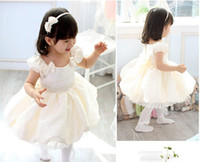 Wholesale Girls dress Beauty princess dress white wedding dress Satin fabric chiffon with bowknot