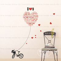 Wholesale New Design Diy Home Wall Sticker Love cat with Bicycle Decoration house background Wall Paster