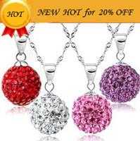 Crystal, Rhinestone ball earrings crystal beads - Fashion Shamballa Crystal Jewelry Sets Ball Bead Pendant Necklace Earring Jewelry Set Sterling Silver Plating Women Wedding Jewelry